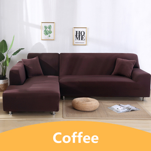 Image 4 - Solid Color Corner Sofa Covers for Living Room Elastic Spandex Sectional Slipcovers Couch Cover Stretch Sofa Towel