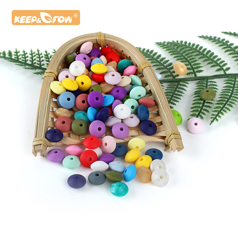 Keep&grow 12mm 10pcs Lentil Abacus Round Silicone Beads Rodent Baby Teether Necklace DIY Accessories Nursing Toy Food Grade