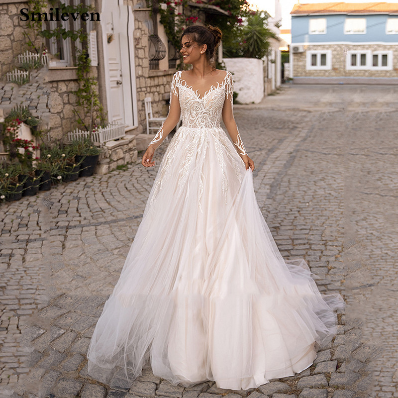 Smileven Long Sleeve Wedding Dress A Line Lace Appliqued Backless Princess Bride Gowns Vestido De Noiva Boho Wedding Bride Drese