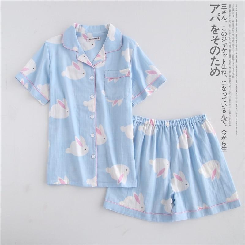 100% Cotton Pyjamas Women Short Sleeves Shorts Pajama Sets Ladies Cute Cartoon Print Japanese Simple Sleepwear Homewear Pijamas