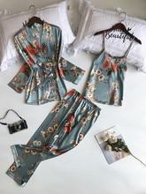 Sexy Nightwear Floral Pijama Mujer V neck Pajamas For Women Ladies Female Lounge Wear Pajama Sets Silks Satins Sleepwear