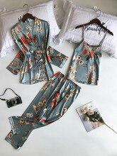 Сексуальная ночная рубашка с цветочным рисунком, пижама с v образным вырезом для женщин, женская одежда для отдыха, пижамные комплекты, шелковые атласы, одежда для сна