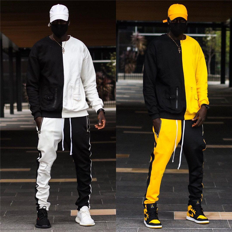 New Mens Set Long Sleeve Stand Collar Sweatshirt Sports Set Gyms Clothes Men Sport Suit Brand Men Sports Wear Hoodies+Pants