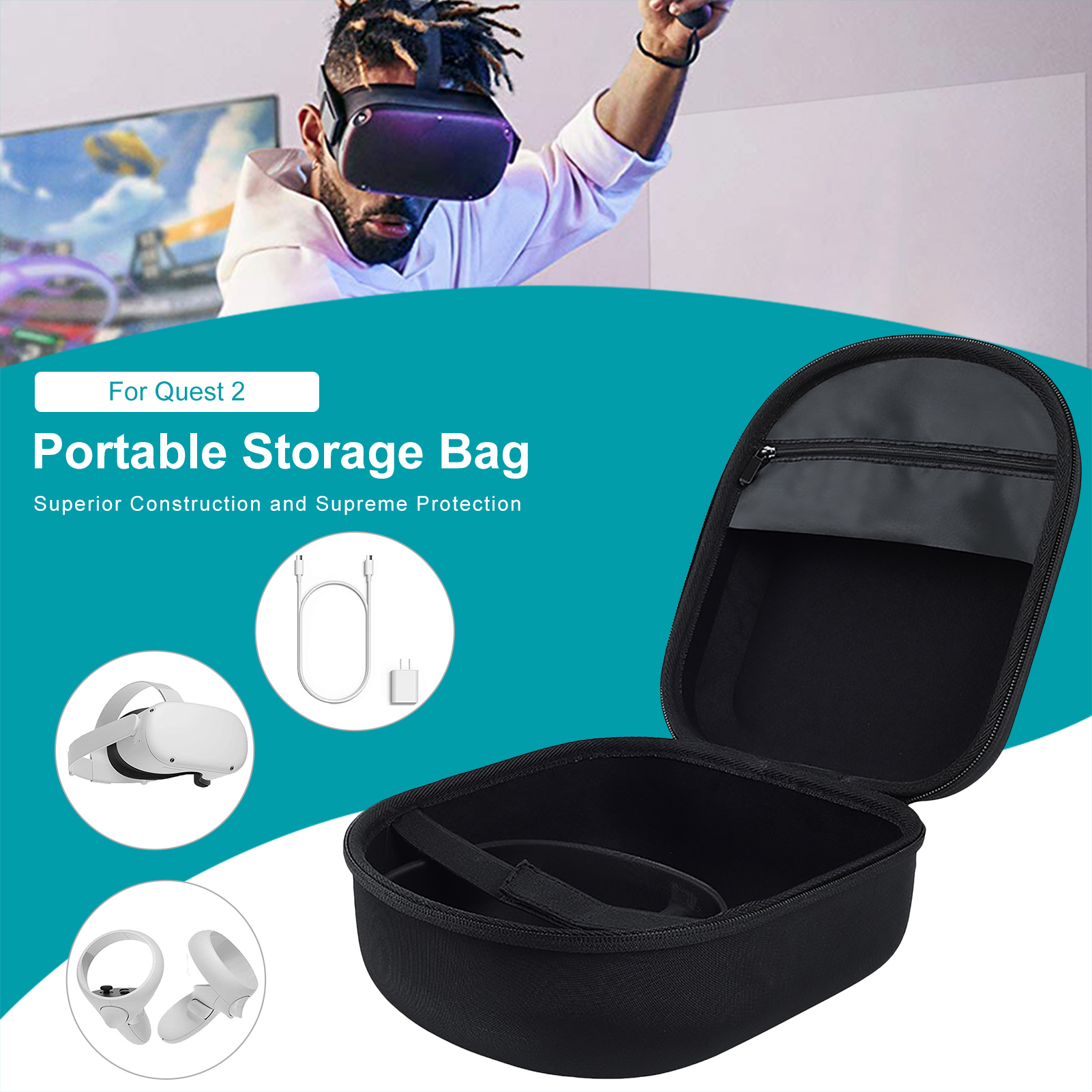 VR Headset Storage Box Hard Carrying Case For Oculus Quest 2 All in one VR Strap Controller VR Accessories|3D Glasses/ Virtual Reality Glasses| - AliExpress