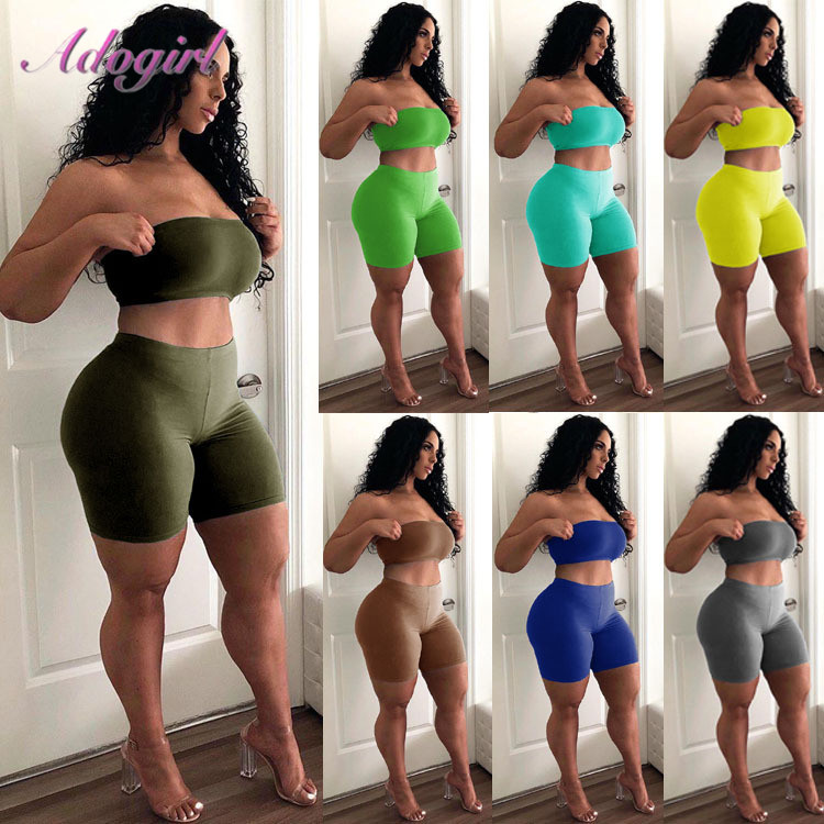 Women Party Club Two Piece Set Casual Strapless Solid Tube Tops + Short Pant Suit Set Female Outfit Sportwear Tracksuit Joggings