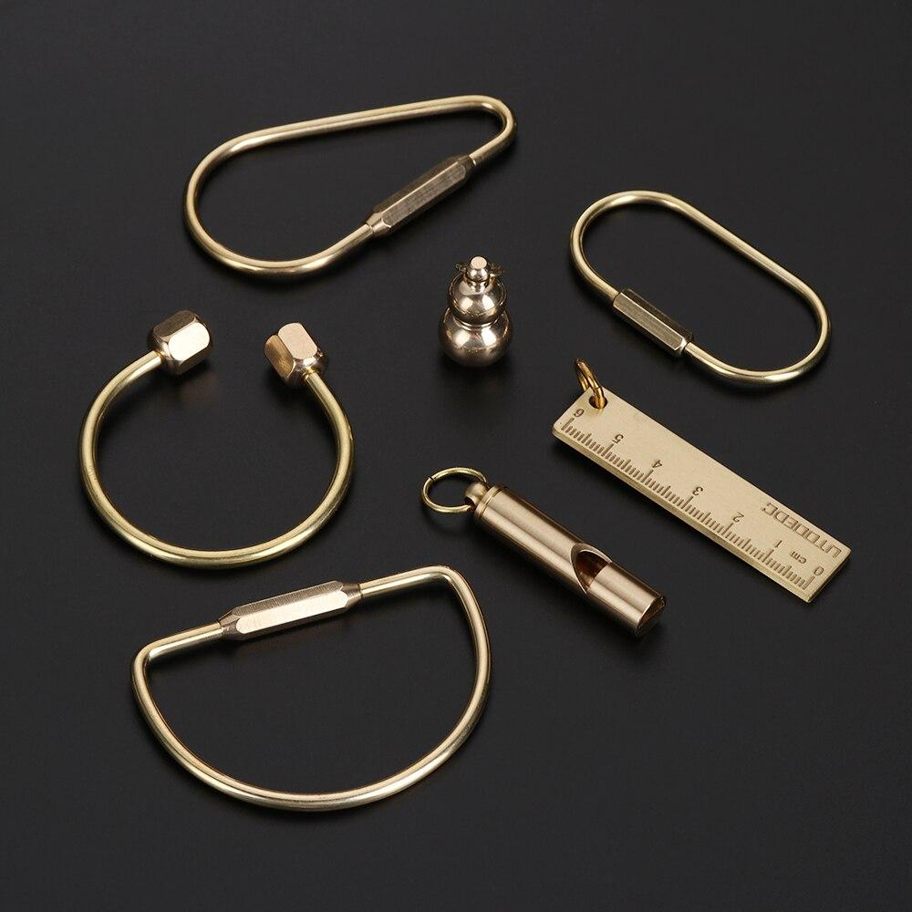 Креативный латунный брелок, портативное кольцо для ключей, подвеска, свисток, линейка, пряжки, DIY уникальный органайзер, инструменты, ювелир...