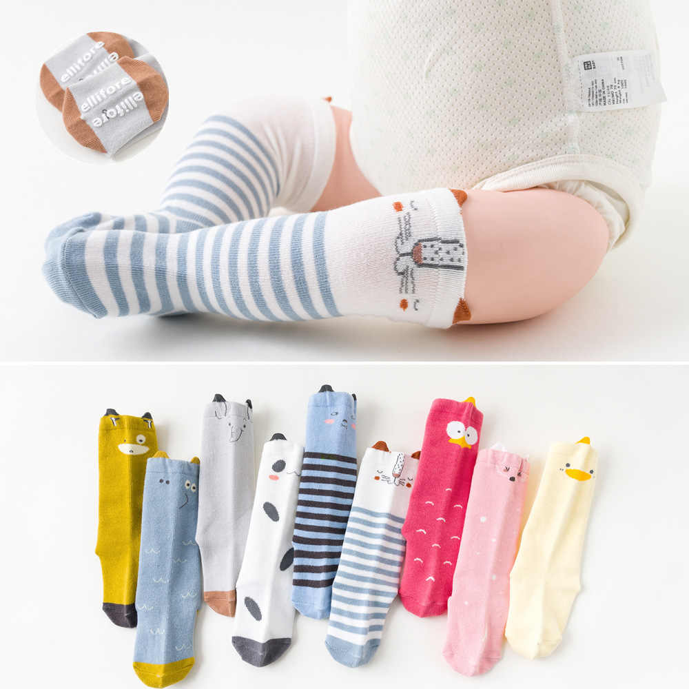 2019 Autumn Cartoon Infant Baby Socks with Rubble Soles Toddler Non Slip Baby Long Sock Floor Newborn High Elastic Warm Sock