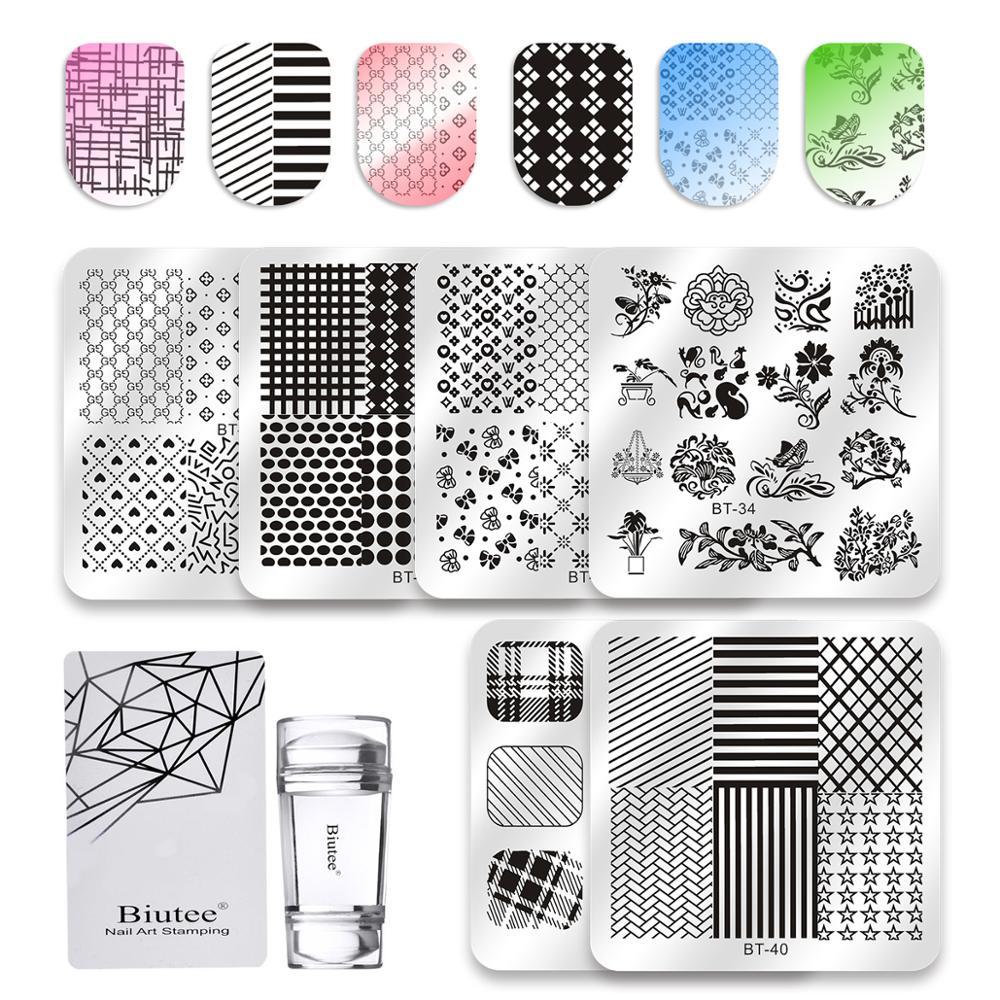 Biutee 8 pçs/set Projeto Stamping Nail Art Placa Mix Prego Carimbar Placas 8pcs Pltes + 1 Polonês Stamper Set kit de Ferramentas de Manicure Nova