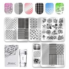 Biutee 8pcs/Set Nail Art Stamping Plate Mix Design Plates 8pcs Pltes +1 Polish Stamper Set Manicure Tools Kit New