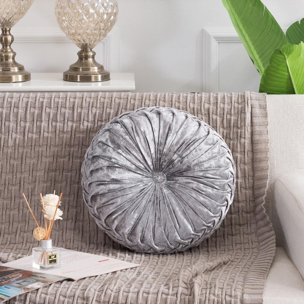 H4820b6d2f7db4a56a68415d5f9a4a8b5k European Pastoral Style Pumpkin Round Seat Cushion/Back Cushion or as Sofa pillow Velvet Fabric 35x35cm 9 Colors