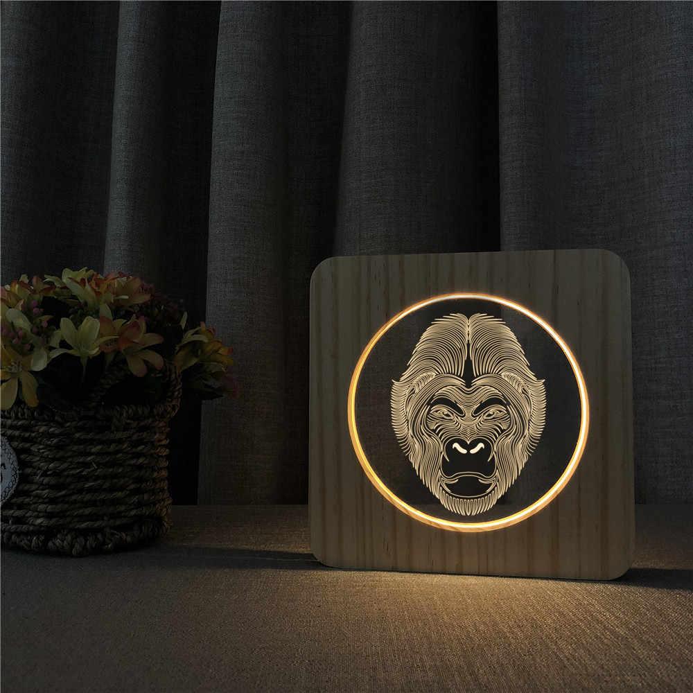Обезьяна 3D светодиодный Arylic деревянный ночной ламповый светильник переключатель управления спортивной врезной светильник для детской комнаты украшения дропшиппинг
