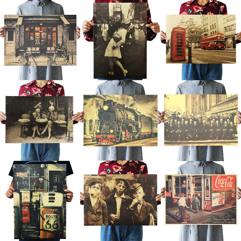 DLKKLB Old Photo Retro Poster World War II Vintage Bar Cafe Decoration Painting Realistic Art Home 51.5x36cm Wall Stickers