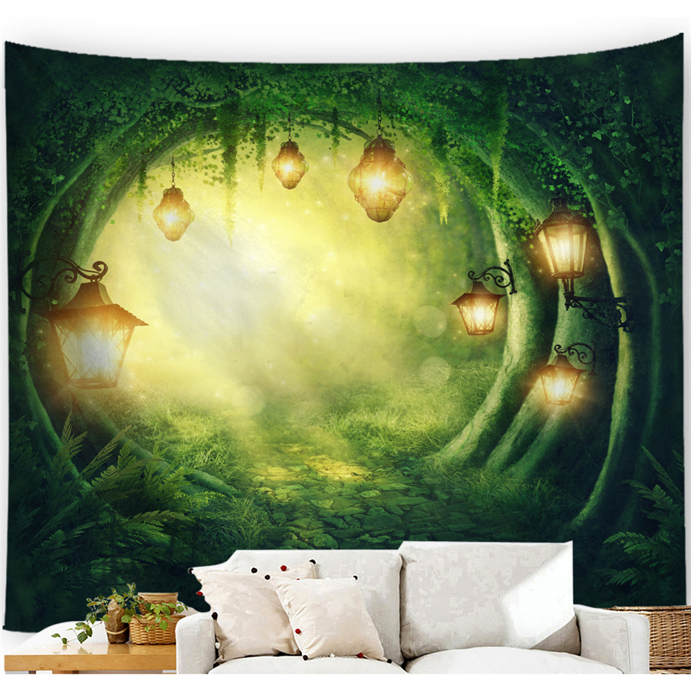 Psychedelic Tree Tapestry Wall Hanging Forest Landscape Moon Tapestry Tree Hole Nature Witchcraft Carpet Wall Cloth Tapestries