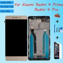 Para xiaomi redmi 4 prime/redmi 4 pro montagem da tela lcd original com caixa frontal preto ouro branco