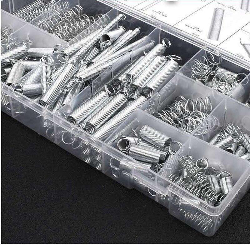 Металлическая сталь в ассортименте с коробкой для хранения, аксессуары, удлинитель и компрессионная катушка, портативный аппаратный инструмент, набор пружин 200 шт./лот