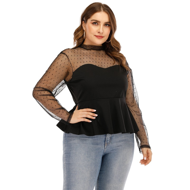 Summer Mesh Tops for Women 2020 Fashion Ladies Black Polka Dot Transparent Blouse Office Work Long Sleeve Ruffle Shirt Plus Size