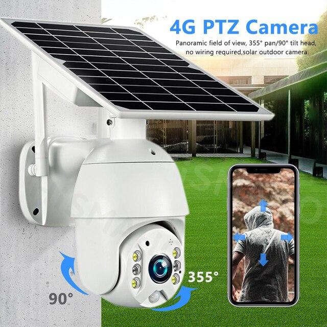 HISMAHO 1080P SIM Card 4G Solar Camera 8W Solar Panel WIFI Outdoor PTZ Camera H.265 Smart Security Monitor Speed Dome Camera 2