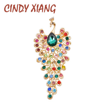 CINDY XIANG Rhinestone Peacock Brooches For Women Large Vintage Animal Pin Luxury Fashion Brooch High Quaity Party Jewelry цена 2017