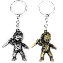 10pcs/lot Fashion Jewelry Key Ring Horror Movie Seed of Chucky Keychain Figure Cosplay Pendant Key Chain Car Key Chains For Men