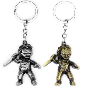 Image 1 - 10pcs/lot Fashion Jewelry Key Ring Horror Movie Seed of Chucky Keychain Figure Cosplay Pendant Key Chain Car Key Chains For Men