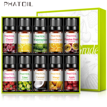 10pcs Fruit Fragrance Essential Oils Gift Set Strawberry Mango Watermelon Passion Fruit Coconut Flavoring Oil for Candle Making