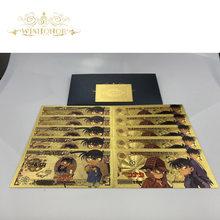 1 pces 2020 japão detetive conan cédula anime cédula detetive em 24k ouro dinheiro de papel para presentes
