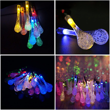Indoor 5m Solar Powered Water Drop String Lights LED Fairy Light 20LED for Wedding Christmas Party Festival Outdoor Decoration ac220v 5m 28led crystal bubble water drop string fairy lights for wedding party christmas decorations for home outdoor indoor