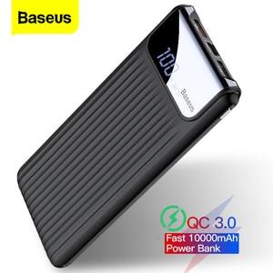 Baseus Quick Charge 3,0 10000 мАч Power Bank LCD 10000 мАч QC3.0 Быстрая зарядка портативное Внешнее зарядное устройство для Xiaomi mi 9