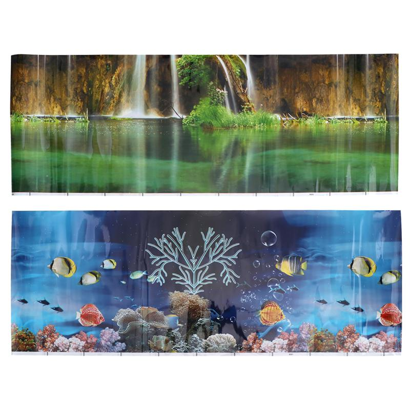 Sea World Scenery Background Sticker For Aquarium Fish Tank Wall Decal Background Decoration For Fish Tank Aquarium 102x40cm image