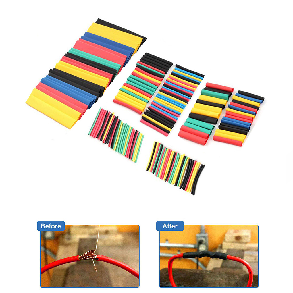 164Pcs Car Electrical Cable Tube kits Heat Shrink Tube Tubing Wrap Sleeve Assorted 8 Sizes Mixed Color