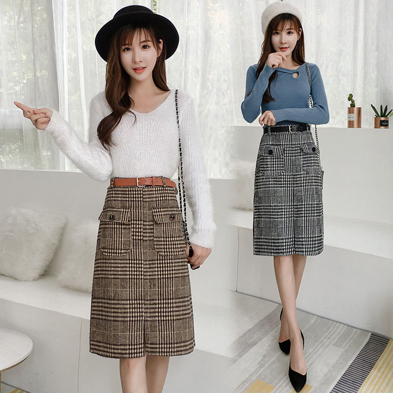 Autumn And Winter Women's 2019 New Style Plaid Skirt Autumn And Winter Woolen Thousands Of Birds Pocket High-waisted Lace-up Sli
