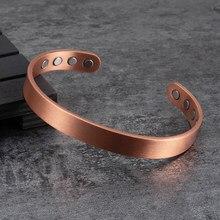Matte Kupfer Magnetische Armband Männer Arthritis Einstellbare 8 stücke Magneten 10mm Männer Manschette Armband Magnetische Energie Armband Männliche