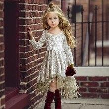 Весенне-осенние платья, платье принцессы в европейском и американском стиле из 100% хлопка, однотонное кружевное платье принцессы для девоче...