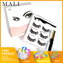 Zestaw pincety 3 pary 5 magnes rzęsy wodoodporny magnes Eyeliner 3D pełne rzęsy i magnetyczne Eyeliner i magnetyczne rzęsy tanie tanio Malishangpin