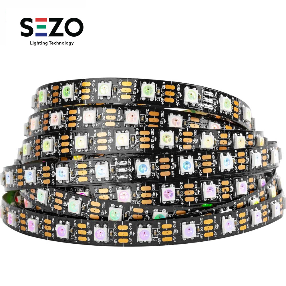 5V WS2812B 12V WS2811 RGB Светодиодные ленты светильник 12V WS2815 двойной сигнал светодиодный светильник s Лента индивидуально адресуемых 1 м 5 м 30led 60led/м