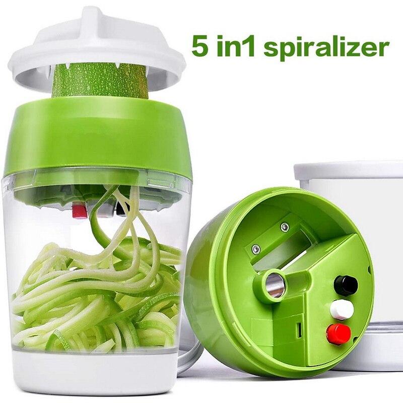 5 in1 ручной спирализатор для фруктовые и овощные нож Регулируемый спиральный резак с контейнер лапши спагетти приготовления Портативный Ли...