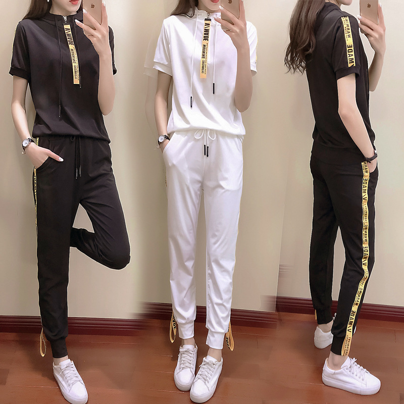 Leisure Sports Suit Female Spring Summer 2020 New Style Korean-style Students Hooded Zipper Playful Online Celebrity Two-Piece S