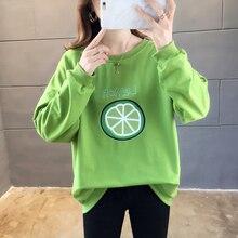 Printed lemon Women Hoodies white green Round neck Hooded Sweatshirts 2019 Autumn Long sleeve Plus size Loose Tracksuits Female цена 2017