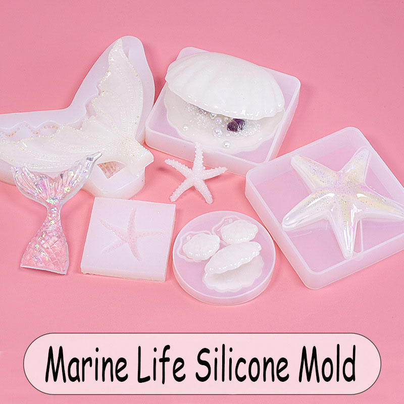 Assorted Marine Life Ocean Silicone Mold Epoxy Resin Mold Seashell Seahorse Starfish Cabochon Beach Embellishment Mold UV Resin
