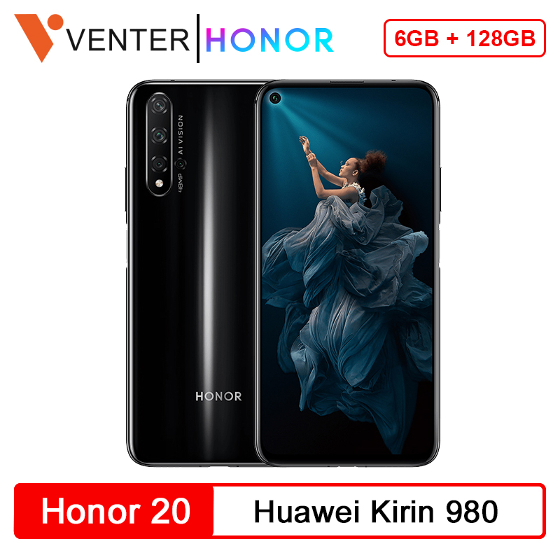 Global Version Honor 20 Smartphone 6G 128G Kirin 980 Octa Core 48MP Four Cameras 6.26'' Mobile Phone SuperChange Google Play NFC