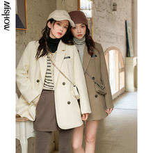 Wool-Coats Jacket Outerwear Female Women Long-Sleeve Winter for Thick Outdoor MX20D6919
