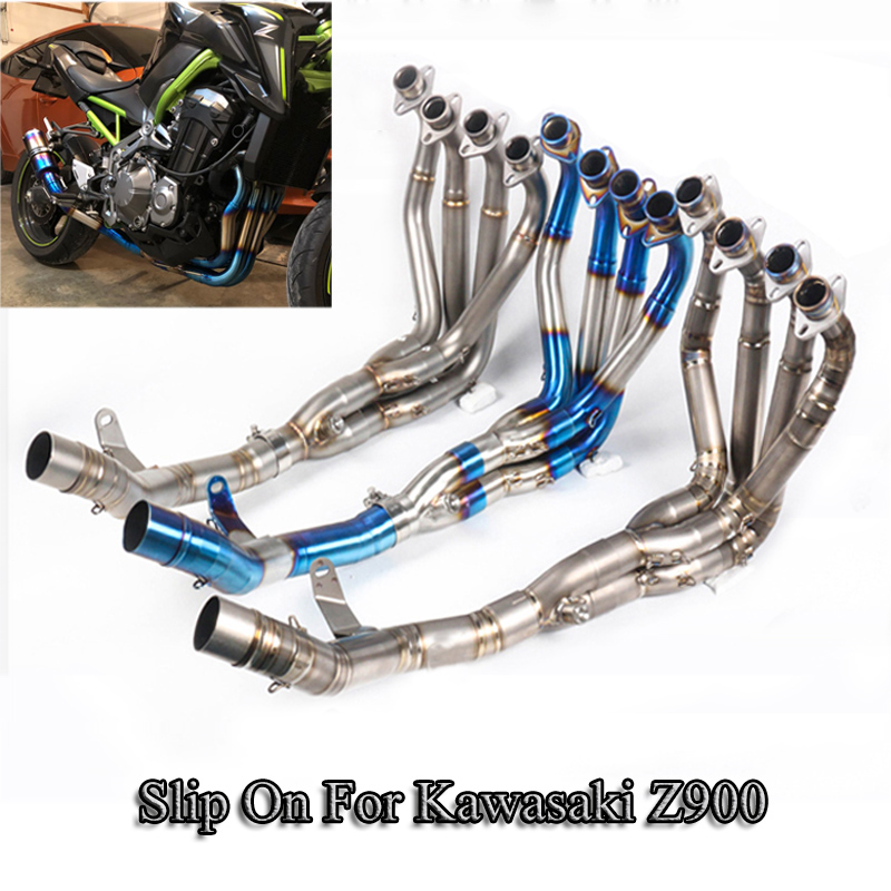 For Kawasaki Z900 Motorcycle Exhaust System Front Link Pipe 51mm Exhaust Muffler Stainless Steel Tube Slip On Motorbike Escape