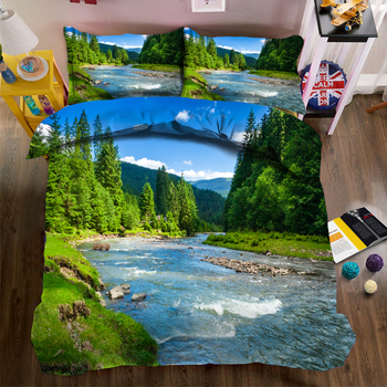 DIY Printed Bedding set Green Forest Waterfall Scenery Pattern Soft Fabric Duvet Cover set Single/Double Bedding set for Bedroom