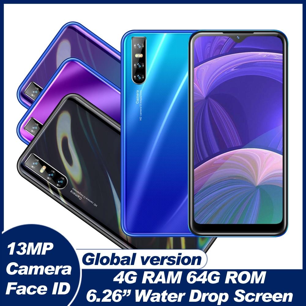 4 ядра глобальной A70s смартфонов 4 Гб Оперативная память 64 Гб Встроенная память 13MP капли воды Экран Android мобильных телефонов Face ID разблокирова...