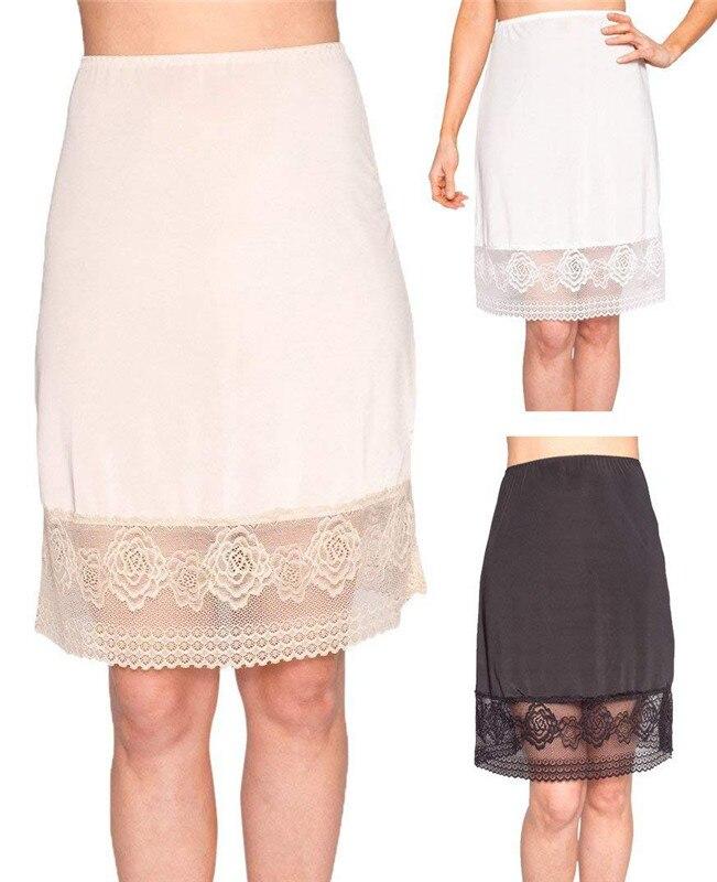 Women's Lace Slip Skirt Extender A-Line High Waist Half Slips Skirts Lengthen Petticoat Underskirt Intimate Ladies Skirt 3FS