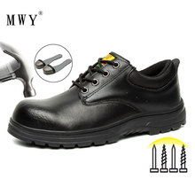 Safety-Shoes Work Steel Black Genuine-Leather Casual MWY Comfortable Men