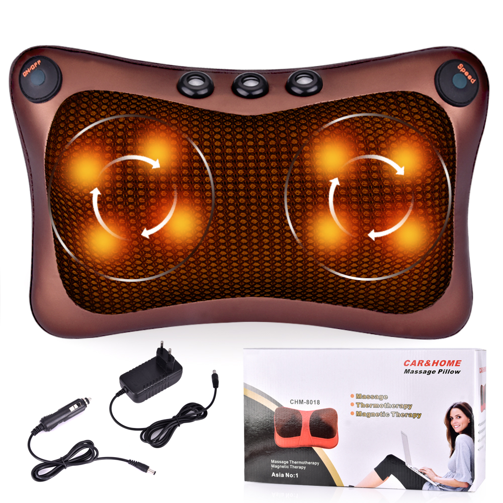 Electric Massage Pillow Infrared Heating Pillow Shiatsu Neck Shoulder Massager Pillow Kneading Car Home Pain Relief Health Care