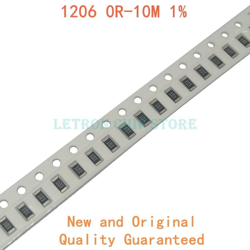 200 шт. 1% 1206 SMD резистор 0R ~ 10M 1/4W 0 0,1 1 10 100 150 220 330 Ом 1K 2,2 K 4,7 K 10K 100K 1R 10R 100R 150R 220R 330R-1 шт. M 10M