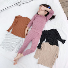 купить New Girls Clothes Set Long Sleeve Striped Tops T-shirt Blouse+Long Pants 2pcs Pajama Set Sleepwear Homewear Suit Kids E0353 по цене 726.86 рублей