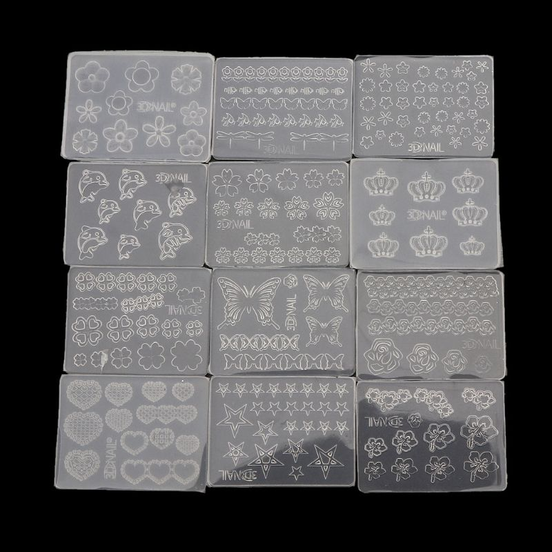 12Pcs Mini Nail Art Silicone Mold Leaves Flower Animals Template Resin Molds Kit